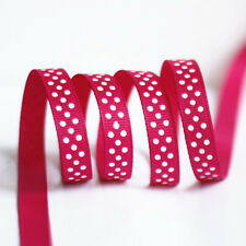 """3/8"""" 9mm Red Color with Polka White Dots Printed Grosgrain Ribbon 50yards/roll"""