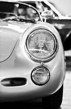 Leinwand Bild Porsche Spyder 550 1500 RS i Oldtimer Detail Schwarzweiß Chrom Car