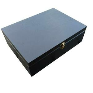 Wooden Box for Paper A4 Size,10 cm Height Whit Lid Lockable Latch in Black Color