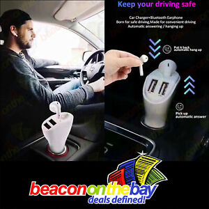 Bluetooth Earbud Headset with Dual Port USB Car Charger 3.1A V5.0 Handsfree Car