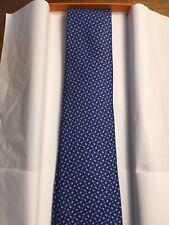100% Auth HERMES TIE Silk Necktie Men Blue