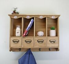 Rustic Wooden Wall Unit Shelf Storage Cupboard Drawers Mail Spice Rack Display