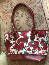 GENUINE BARBOUR TOTE BAG ZIP FASTEN INTERNAL ZIP POCKET RED ROSE LEATHER TRIM