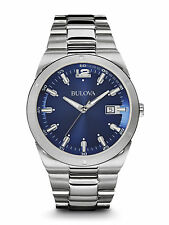 Bulova 96B220 Mens Classic Collection Stainless Steel Blue Dial 43mm Watch