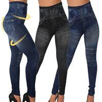 SALE Plus Size Women Leggings Skinny High Waist Jeans Trouser Denim Pencil Pants