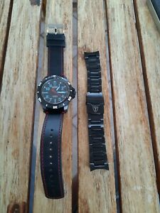 Detomaso Matera Black PVD Automatic Blue Accents 45mm w Stainless Steel Bracelet