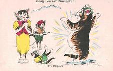 Vintage Cat Postcard,Gruss von der Kneipptur,Der Blitzausz,Cat Family,c.1909