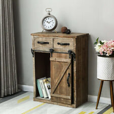 32''H Storage Cabinet with Sliding Barn Door Wood End Table Furniture Rustic