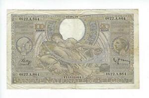 BELGIUM  100 FRANCS  1938    FINE  SEE SCAN