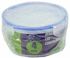 4pc ROUND CLEAR PLASTIC VACUUM FOOD STORAGE CONTAINERS LUNCH BOX CLICK TOP LID
