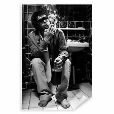 Postereck 3696 Poster Leinwand Party Boy, WC Alkohol Rauchen Schwarz Weiss