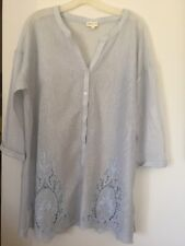 MEADOW RUE Sky Blue Eyelet Embroidered Mesh Buttons Women Tunic Shirt Cover L