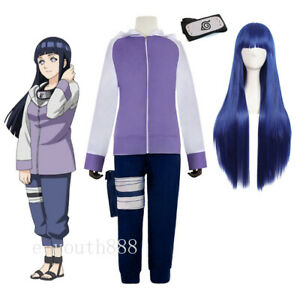 Cosplay Anime Hyuga Hinata Costume Unifrom Outfit Wig Halloween Coat Pants Suit