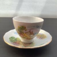 Royal Vale Bone China Ridgway Potteries Tea Cup & Saucer Village Cottage Scene