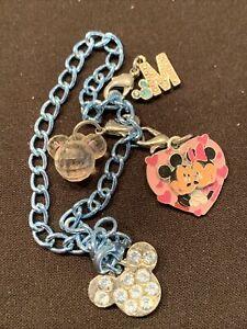 Disney Princess Charm Bracelet Mickey Minnie Mouse Rhinestone Enamel Signed