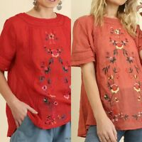 Umgee floral embrodered short sleeve peasant boho short sleeve top S M L