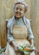 Tom Clark Gnomes ~ Signed~1986 Leah~#99~Sitting and Shucking Corn while Posing