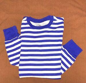 New Childrens Place Boys Sz XS 9-10 Pajama Top Sleeping shirt Blue White Stripes