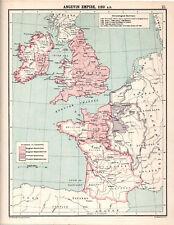 ANGEVIN EMPIRE, 1189 A.D. 1905 Robertson & Bartholomew ANTIQUE MAP