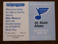 St. Louis Blues 1978 1979 Pocket Schedule Globe Democrat NHL Hockey