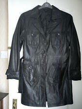 BEAUTIFUL LADIES BROWN LEATHER COAT SIZE 14