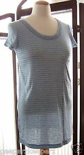 BCBGMaxazria Blue/ White Stripe Fine Knit Short Sleeve Pocket TShirt XS Long