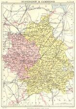 Cambridgeshire & Huntingdonshire. Britannica 9th EDIZIONE County MAP 1898