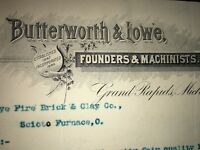 Hand Signed Butterworth & Lowe founders Machinists Grand Rapids Mich Letterhead