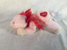 """Plush Stuffed Pink Floppy Pig  7.5""""L for Valentines Red Heart on body I Love You"""