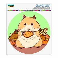 Hamster Eating Stash of Food Automotive Car Window Locker Circle Bumper Sticker
