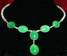 75.36CT CHINESE ESTATE EMERALD GREEN JADE CABOCHON STERLING SILVER NECKLACE 20""