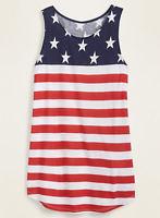 Old Navy Women's Luxe High Neck Tank Top Patriotic Large NEW 579781 HBX3