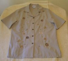 BonWorth Sz S Button Front Tan Polyester Blouse w/Fish Embroidery, short sleeves