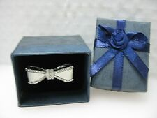 White Enamel and Crystal Bow Ring Adjustable Size Gift Box