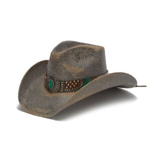 New Unisex  Hand crafted Genuine Panama Cowboy Western Hat - BLUE STONE