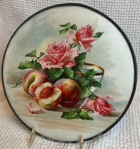 """FLUE COVER LOT #63 Pink Roses and Peaches Still Life 10 1/4"""""""