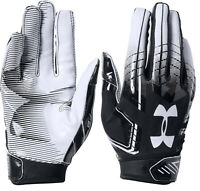UNDER ARMOUR F6 Football Receiver Gloves sz L Large Black White GlueGrip