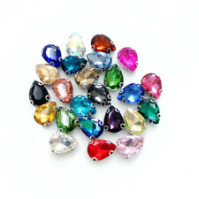 50pcs Sew On 7x10mm teardrop rhinestone D claw cut glass cabochons crystal