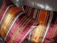 SCHUMACHER fabric Throw pillows Romanesque cut Velvet Stripe custom new PAIR