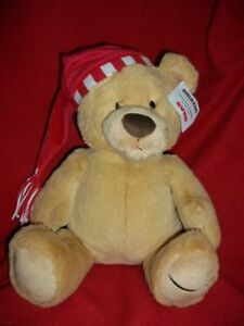"""Gund Amazon Tan bear exclusively 2017 with red hat 14"""" long"""