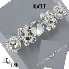 CLEARANCE CHUNKY CLEAR CRYSTAL BRACELET FORMAL WEDDING CHIC AND TRENDY JEWELRY