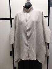 Veritecoeur OS Linen Natural Classic Collar Boxy Shirt Tunic