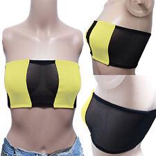 SEXY Womens Casual Club Sport Underwear Bandeau Tube CROP TOP Tee Yellow MEDIUM