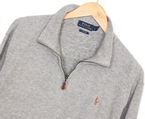 POLO RALPH LAUREN ESTATE RIB Zip Neck Grey Jumper Sweater Men Size L