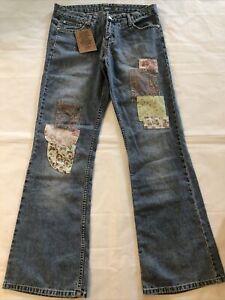 Younique Women's Juniors Flare Jeans Hippie Flower Floral Patches NWT 11 Boho