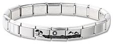 New Italian Charm Bracelet Stainless Steel Dolphins Hawaii Modular 3 Free Links