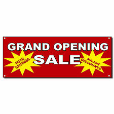 Grand Opening Sale Huge Savings Major Discounts Red Banner Sign 2 ft x 4 ft