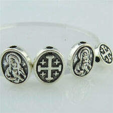 14956 25pcs Antique Silver Cross Virgin Mary Spacer Beads 10mm