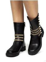 Womens Ladies Studded Pearl Zip Ankle Boots Guesset Chelsea Fashion Shoe Size