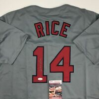 Autographed/Signed JIM RICE Boston Grey Baseball Jersey JSA COA Auto